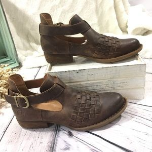 BORN viveka woven leather ankle strap booties